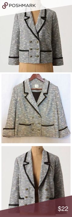 """Anthropologie Coquille Today's Special Blazer Sz 6 Anthropologie Coquille Today's Special Blazer Tweed Navy Blue Jacket  • Sz 6  • 15.75"""" shoulders • 19"""" bust  • 22"""" length • 12.5"""" sleeve inseam • Double breasted (1 row of buttons functional)  • Raw cut ribbon trim • Main colors of blue & white. Also cream, purple, orange, & yellow.  • Buttons are silver metal & have a lion impression • Fully lined • 50% polyester 49% cotton 1% viscose shell • 65% polyester 35% cotton body lining • Very good…"""