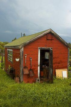 Little red garden shed. Little red garden shed. Rustic Shed, Cool Sheds, Vintage Garden Parties, Greenhouse Shed, Diy Garden Furniture, Modern Garden Design, She Sheds, Potting Sheds, Small Buildings
