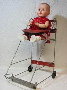 Vintage Doll Stroller, High Chair, Shopping Cart - 1959