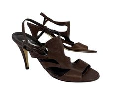 Butter Brown Textured Leather Sandal Heels