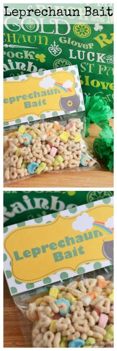 Leprechaun Bait makes a great class treat for St. Grab this free St. Patrick's Day Printable and make your own bait easily. St Patrick's Day Crafts, Fun Crafts For Kids, Diy For Kids, Easy Crafts, March Holidays, St Patrick Day Treats, St Patricks Day Food, Luck Of The Irish, Crafty Kids