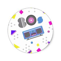 Memphis pattern with 80s radio classic round sticker - party gifts gift ideas diy customize