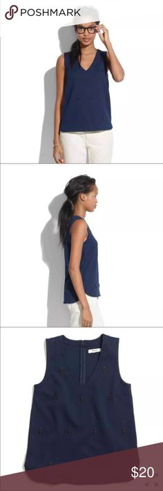 Madewell Ponte Nightshine Tank Madewell Ponte Nightshine Tank, size small, navy. Worn once, no signs of wear! Madewell Tops
