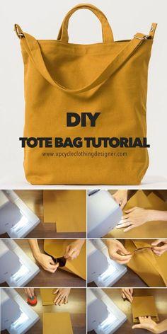 Sacs Tote Bags, Diy Tote Bag, Diy Pouch Bag, Best Tote Bags, Diy Purse, Bag Patterns To Sew, Tote Pattern, Sewing Patterns, Free Tote Bag Patterns