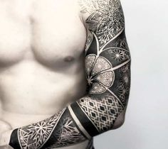 Black and grey Mandala Sleeve tattoo works by Otheser Tattoo