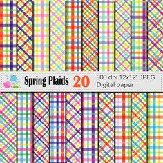 Spring Plaids Digital Paper Set, Bright Plaid Geometric Digital Scrapbook papers, Instant Digital Download, Colorful Plaids