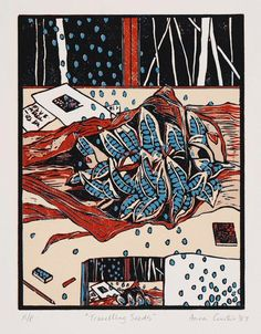 Anna Curtis ~ Travelling Seeds, 1987 (linocut)