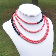 coral & black long beaded necklace