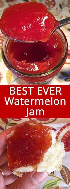 Watermelon Jam – Easy and Foolproof This watermelon jam recipe is amazing! Perfectly set jam that tastes like extremely concentrated watermelon – mmmmm! Super easy to make, perfect for beginners! This is the only watermelon jam recipe you'll ever need! Jelly Recipes, Dessert Recipes, Desserts, Easy Jam Recipes, Freezer Jam Recipes, Pizza Recipes, Drink Recipes, Cake Recipes, Canning Recipes