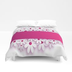 pink flowers Duvet Cover by abeerhassan Twin Xl, King Queen, Alchemy, Hand Sewn, Pink Flowers, Comforters, Duvet Covers
