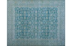 Lovely hand-knotted wool rug in shades of blue
