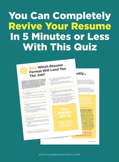 What resume format works for your career and the jobs you are seeking? Take our quiz to find out. Make Money Fast, Make Money From Home, Cv Tips, Interview Skills, Best Careers, Resume Format, Secret To Success, Career Development, Free Downloads