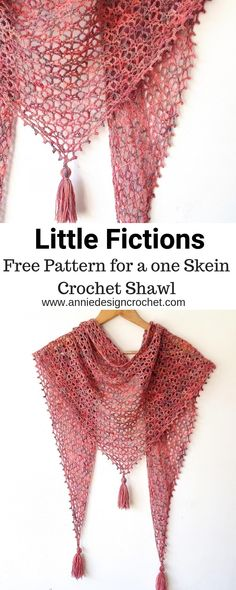 Little Fictions – Free Pattern for a One Skein Shawl – Annie Design. Little Fictions – Free Pattern for a One Skein Shawl – Annie Design Crochet, wrap, One Skein Crochet, Crochet Shawl Free, Crochet Motifs, Crochet Shawls And Wraps, Basic Crochet Stitches, Crochet Basics, Crochet Scarves, Crochet Patterns, Crochet Summer