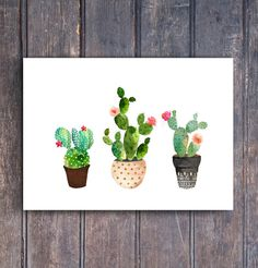 Wanddeko -  Kaktus Kaktus Kaktus Aquarell - ein Designerstück von suniwaco bei DaWanda