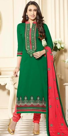 Karishma Kapoor Green And Red Cotton Salwar Suit With Dupatta.