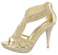 Delicacy 07 Womens Rhinestone Event Dress Sandals Gold 8