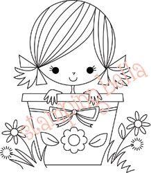 Dibujo de niña en  maceta