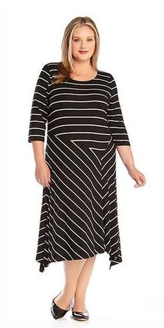 5fa2dfcfcf8 Resort 2015 Karen Kane Plus Size Fashion Mixed Black and White Stripe Dress