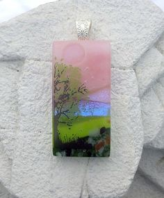 Dichroic Fused Glass Art  Pendant Handcrafted LandscaEXTRA 20% OFF WHEN YOU BUY 2 OR MOREpe Lola's Glass Pendants