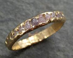 Medida cruda áspera sin cortar rosa diamante boda Band 14k oro anillo byAngeline C0373