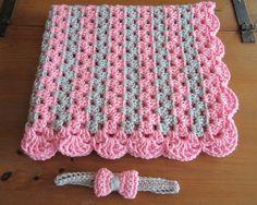 baby girl gift set crochet baby blanket and headband gift
