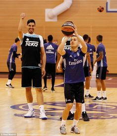 Lucas Vasquez prepares to take a shot during Real Madrid's special 90-minute training session