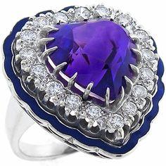 1940's Estate Mid Century 10.00ct Heart Shape Amethyst 0.90ct Round Cut Diamond Blue Enamel 14k White Gold Ring.
