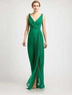 Red-carpet green silk gown