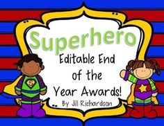 Delight your children with these Editable Superhero Themed End of The Year Awards!Includes 30 different awards.