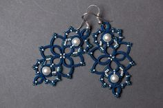 "OClairedeLune: Earrings ""Ocean Of Pearls"" by Emilie - Tatting Tutorial #tatting #jewelry"