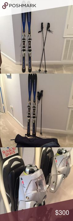ROSSIGNOL skis Axiom 160 skis with Solomon bindings, plus poles and canvas tote. Rossignol Other