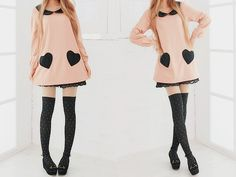 pink dress with black heart pockets