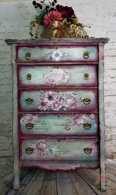 What a bold choice of colors! What a brave choice of c Decoupage Furniture, Chalk Paint Furniture, Hand Painted Furniture, Funky Furniture, Refurbished Furniture, Colorful Furniture, Repurposed Furniture, Shabby Chic Furniture, Furniture Projects