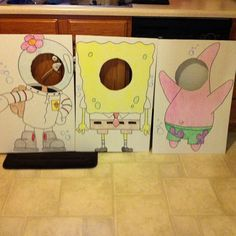 Photo Booth Set up for sons 4th bday. Each board was $1 at Dollar Tree Total Cost $3 for an awesome photo op. #spongebob #party #kids