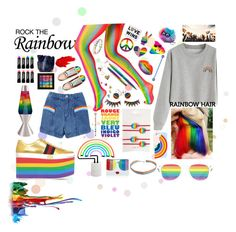 """""""Taste the Rainbow"""" by essentiallyessence ❤ liked on Polyvore featuring Miss Selfridge, Topshop, Gucci, Sunnylife, Universal Lighting and Decor, FromNicLove, SheBee Gem, Betsey Johnson, Alice + Olivia and Fisher Space Pen"""