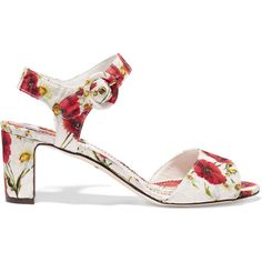 Dolce & Gabbana Floral-print brocade sandals (€325) ❤ liked on Polyvore featuring shoes, sandals, flowers, red, dolce gabbana shoes, ankle tie sandals, floral print sandals, red sandals and multi colored sandals