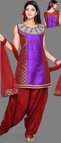 #Maroon and Violet Pure Raw #Silk Salwar #Kameez With Dupatta | $99.96 | Shop Here: http://www.utsavfashion.com/store/sarees-large.aspx?icode=kyc1251