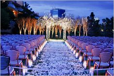 Wedding Aisle Decoration Design - Love the candles. This would be beautiful for a night wedding.