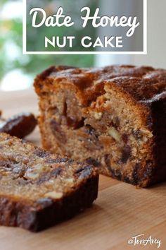 honey cake Date Honey Nut Cake - A moist, dairy-free cake bursting with flavor. Kosher, Pareve, Dairy Free, and perfect for Rosh Hashanah or Sukkot. Bread Cake, Dessert Bread, Loaf Cake, Fruit Bread, Honey Dessert, Just Desserts, Delicious Desserts, Dessert Recipes, Fruit Cake Recipes