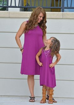 c37e18069f Mommy and Me Tank Pocket Dress Magenta - Ryleigh Rue Clothing by Modern  Vintage Boutique