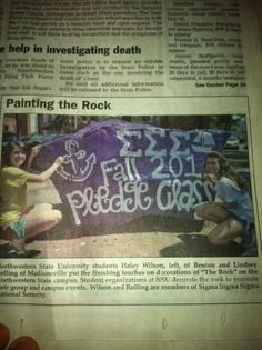 PAINT THAT ROCK! (Alpha Zeta did!) Our campus sponsors a huge rock that organizations can paint. We got it right after recruitment! @Sigma Sigma Sigma National Sorority