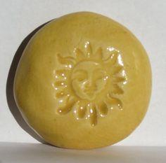 SUN Pocket Stone  Ceramic  SUN YELLOW Art Glaze  by InnerArtPeace, $5.00