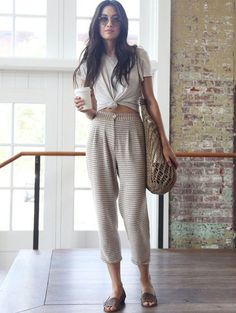 high waisted pants + knotted tee