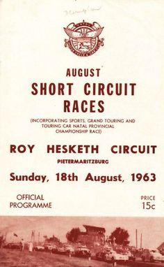 Roy Hesketh Racing Programmes 18th August 1963 | Pietermarizburg