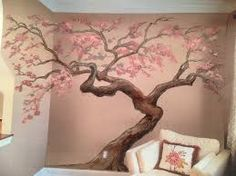 Image result for trompe l'oeil potted Flowering tree