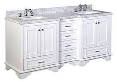 """Kitchen Bath Collection KBC1272WTCARR Nantucket Bathroom Vanity with Marble Countertop, Cabinet with Soft Close Function and Undermount Ceramic Sink, Carrara/White, 72"""", http://www.amazon.com/dp/B00GRAP5R0/ref=cm_sw_r_pi_awdm_hg2Ywb0RP84MR"""
