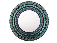 Round Accent Mirror, Coastal Decor Mosaic Mirrors, Mosaic Art, Mosaic Tiles, Mirror Words, Black Grout, Picture Wire, Green Street, Round Mirrors, Coastal Decor