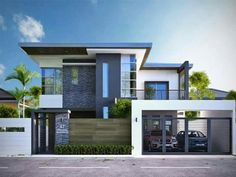 1432 square feet Square Meter) Square Yards) nice small double storied house with 3 bedrooms. Design provided by Home Design . 2 Storey House Design, House Front Design, Modern House Design, Dream House Exterior, Dream House Plans, Modern House Plans, Modern Zen House, Double Story House, Modern House Facades