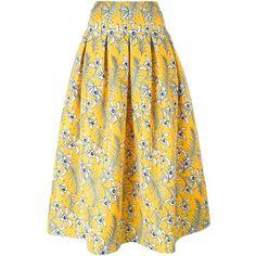 Oscar de la Renta Floral Print Pleated Skirt ($2,066) ❤ liked on Polyvore featuring skirts, oscar de la renta, high waisted knee length skirt, pleated skirt, mid calf skirt, silk skirt and silk pleated skirt