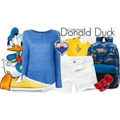Donald Duck by leslieakay on Polyvore featuring Woolrich, Fat Face, Converse, Everlast, Dorothy Perkins, Sugoi, Vans, vans, disney and disneybound